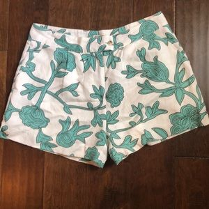 Mo Vint L Rayon Linen Beige Green Short Bermuda
